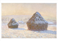 Claude Monet, Wheatstacks, Snow Effect, Morning Holiday Cards