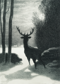 William Morris Hunt Stag in Winter Moonlight Holiday Cards