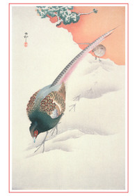 Ohara Shoson: Pair of Pheasants in Snow Holiday Cards Holiday Cards