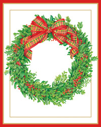 Boxwood and Berries Wreath Holiday Cards