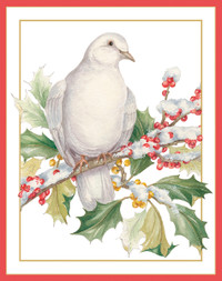 Dove on Holly Branch Holiday Cards