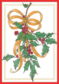 Holly and Ribbon Holiday Cards
