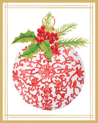Red Porcelain Ornament Holiday Cards