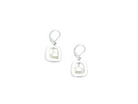 Geometric Silver and Pearl Earrings