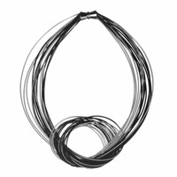 Black and Silver Piano Wire with Knot Necklace