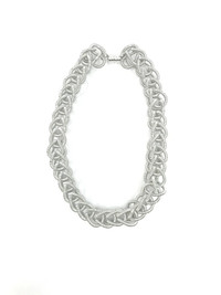 Piano Wire Silver Chain Link Necklace