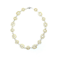 Gold Geometric Shape with Pearl Necklace