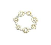 Gold Geometric Shape with Pearl Bracelet