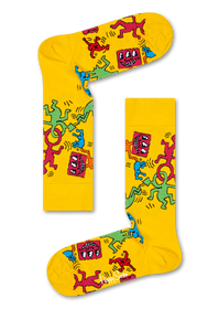 Keith Haring All Over Socks - Yellow