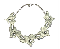 Textured Leaves Pewter Necklace