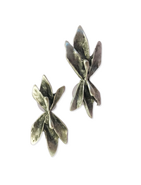 Vertical Floral Pewter Earrings