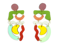 Multi Color Squiggle Mania Earrings