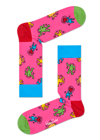 Keith Haring Dancing Figures Pink Socks- Medium