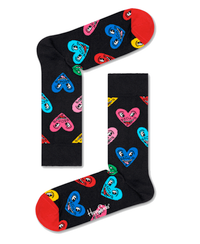 Keith Haring Heart Black Socks- Medium