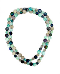 Mother of Pearl Single Strand Necklace - Taupe, Navy and Teal