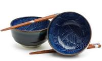 "Aranami 5"" Set of 2 Bowls with Chopsticks"