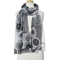 Black and White Colorful Patterns Scarf
