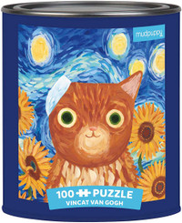 Vincat Van Gogh Artsy Cats Puzzle Tin - 100 Pieces