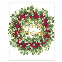 Mistletoe and Berry Wreath Holiday Cards