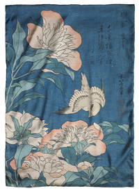 Hokusai, Peonies and Canary Scarf