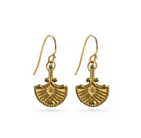 Castellani Granulated Fan Drop Earrings