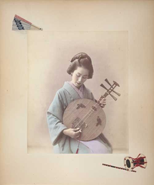 Adolfo Farsari, Woman Playing a Moon Zither