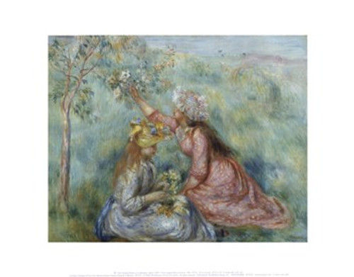 Renoir Girls Picking Flowers in a Meadow