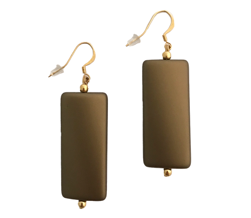 Bronze Rectangular Twist Earrings