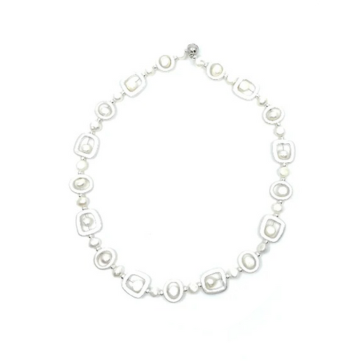 Geometric Silver and Pearl Necklace