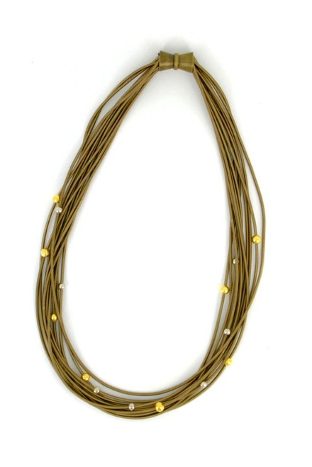 Bronze Piano Wire Necklace with Silver and Gold Beads