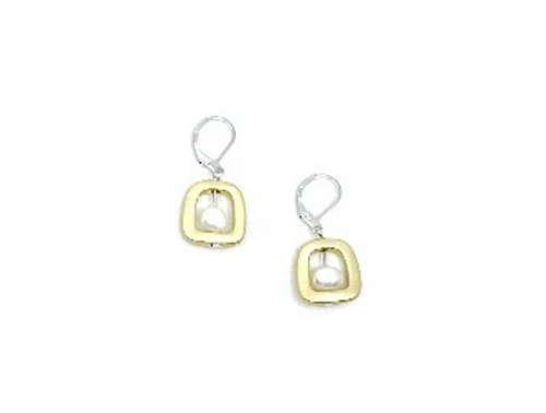 Gold Geometric Shape with Pearl Earring