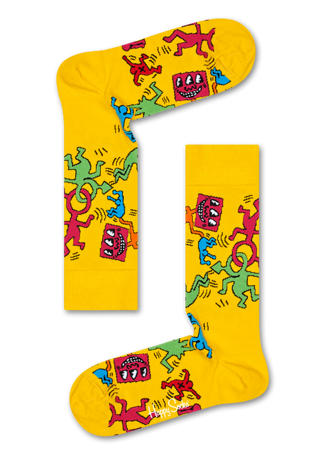 Keith Haring All Over Men's Socks - Yellow