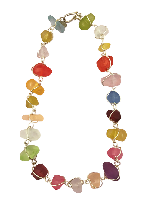 Matte Multi Colored Nugget Necklace