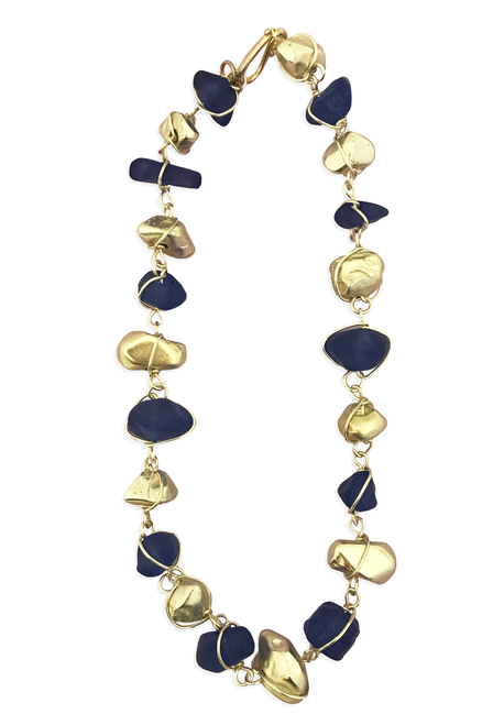 Matte Navy and Silver Nugget Necklace