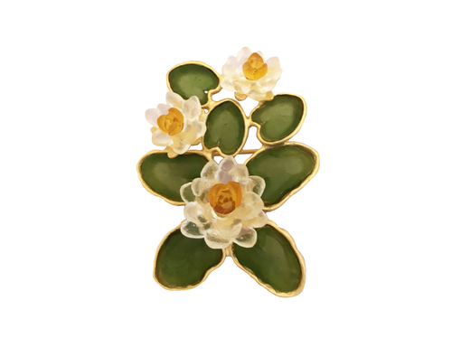 White Waterlily Brooch
