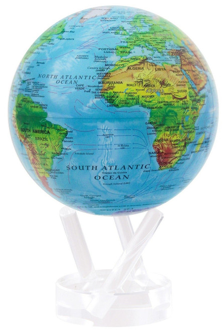 """Blue with Relief Map 6"""" Globe"""