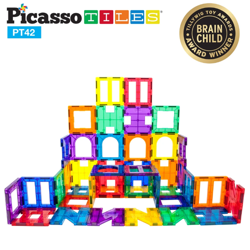 PicassoTiles: 42-pc Magnetic Tiles