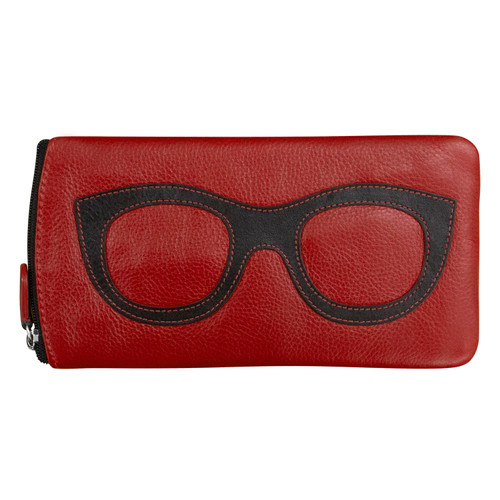 Leather Eyeglass Case in Red