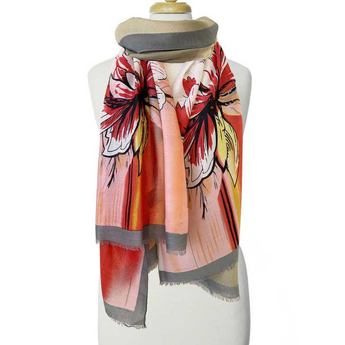 Coral Large Floral Scarf