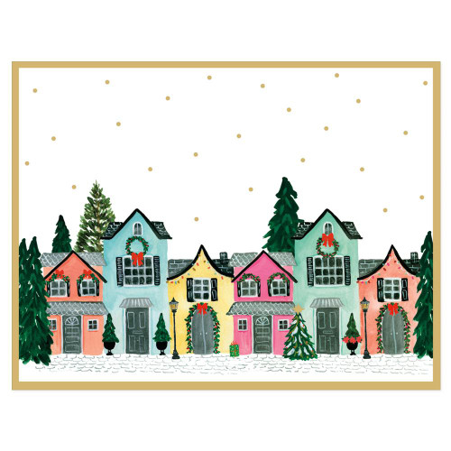 Decorated Houses Foil Holiday Cards