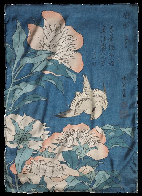Hokusai, Peonies and Canary Scarf