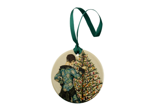 Woman in blue dress decorating a Christmas tree Holiday Ornament