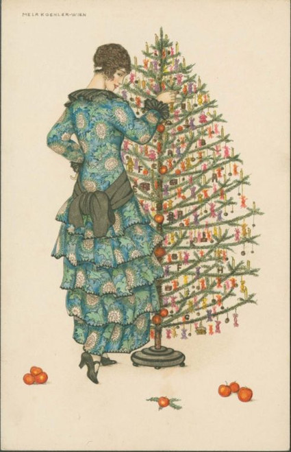 MFA Woman In Blue Dress Decorating a Christmas Tree Holiday Cards