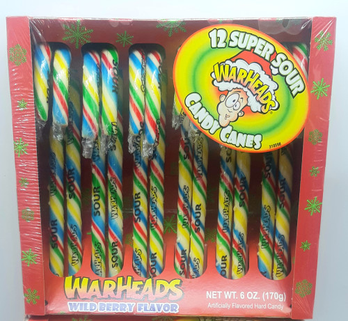 Warheads 12 Super Sour Candy Canes