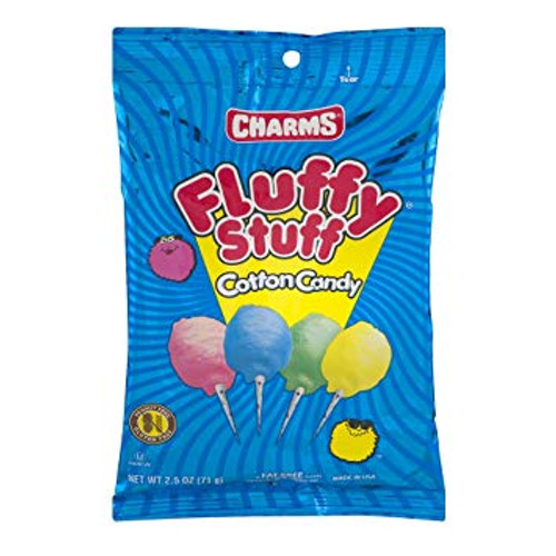 Cotton candy fun with Charms Fluffy Stuff Cotton Candy. Stays fresh, these bags are filled with tasty, fruit-flavored, pillowy goodness.