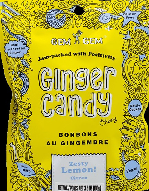 Gem Gem Chewy Ginger Candy - Zesty Lemon