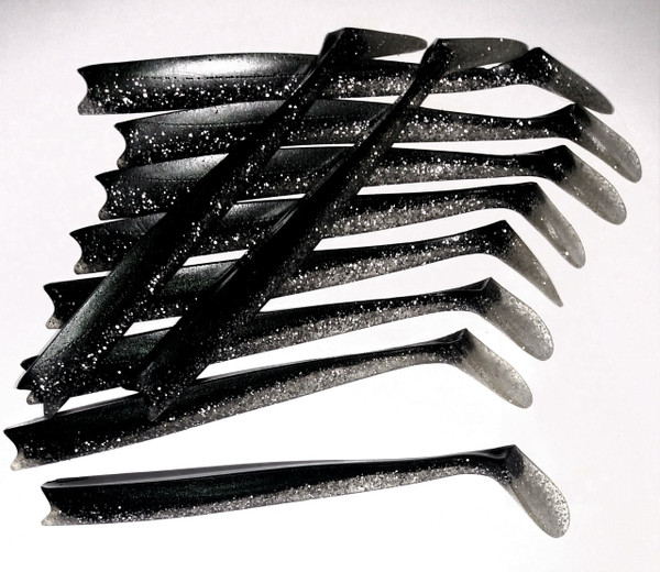 Patriot Fish Black/flake replacement tails (10pack)