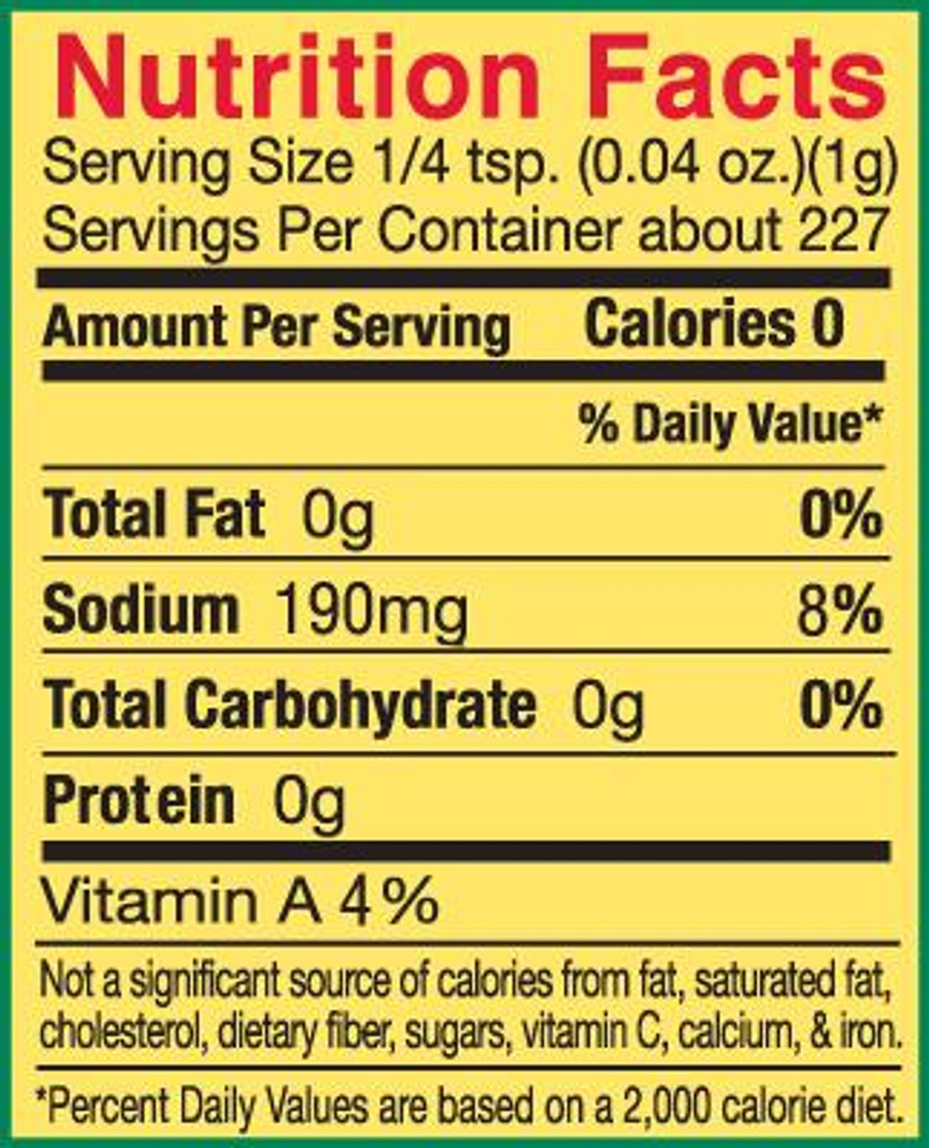 Slap Ya Mama - HOT Cajun Seasoning (8 Oz.) - Nutrition Facts