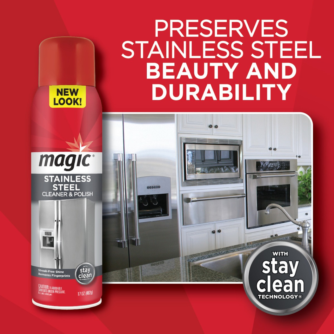Magic - Stainless Steel Cleaner & Polish (17oz. Aerosol) - Preserves stainless steel beauty and durability