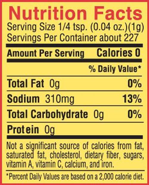 Slap Ya Mama - Original Cajun Seasoning (8 Oz.) - Nutrition Facts